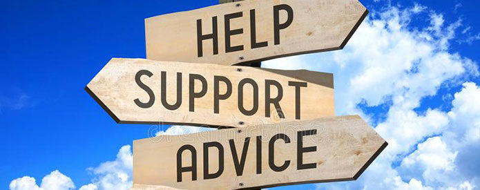 Help, Support and Advice signs with blue sky in the background
